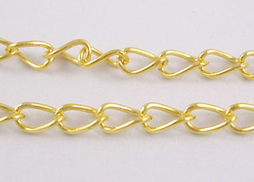3 metres of Iron Twist Chain (3.5mm x 5.5mm) 0.5mm thick (Gold)
