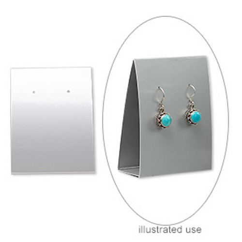 10pk Earring card, adhesive and card stock, silver, 3x2-1/4 inches assembled.