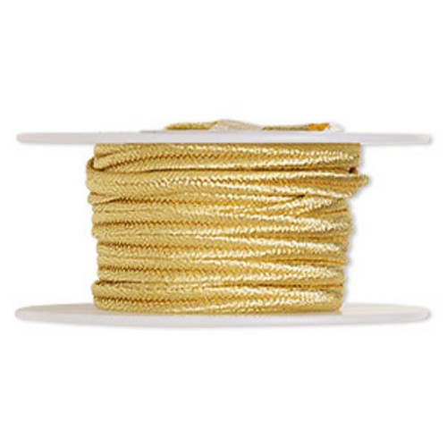 Cord, soutache, polyester, 3.5mm wide. Sold per 6-yard spool. Metallic Gold
