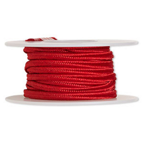 Cord, soutache, polyester, 3.5mm wide. Sold per 6-yard spool. Red