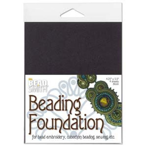 "1pk The Beadsmith Bead Back Beading foundation for Soutache/Beaded Cabochons 4.25*5.5"" Black"