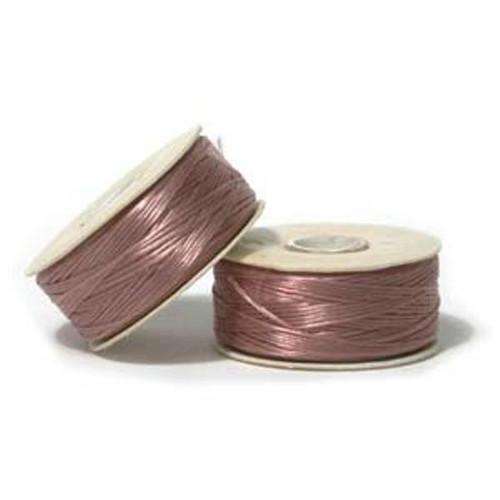 Thread, Nymo®, nylon. 1 x Bobbin Size D - 64yds Rosey Mauve