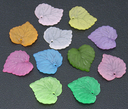 Mixed Colour Frosted Acrylic Leaves 16*15mm - 20gm pack