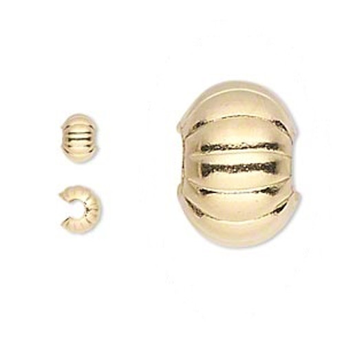 20pcs x 3mm Crimp Cover Corrugated Gold