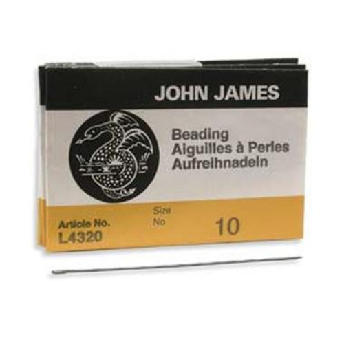 John James English beading needles 25 pack, size 10 ( 55mm length x 0.46mm diameter)