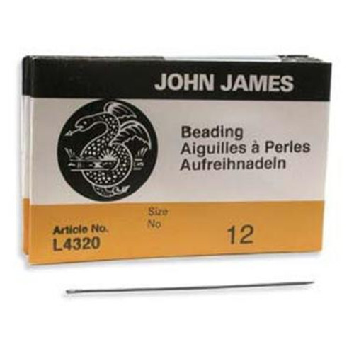 John James English beading needles 25 pack, size 12 ( 51mm length x 0.36mm diameter )