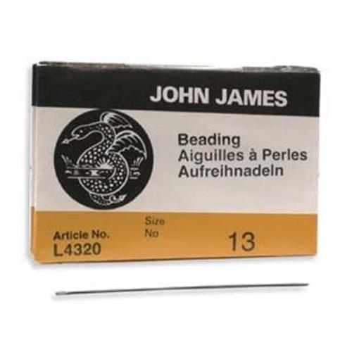 John James English beading needles 25 pack, size 13 ( 49mm length x 0.30mm diameter )