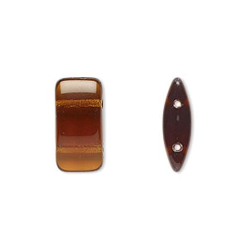 1 Strand of Czech 2 hole Carrier Beads 9mm x 17mm Transparent Dark Topaz (15 beads per strand)