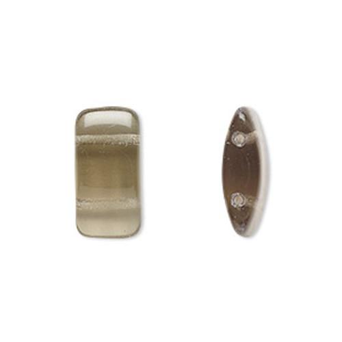 1 Strand of Czech 2 hole Carrier Beads 9mm x 17mm Transparent Smoke (15 beads per strand)