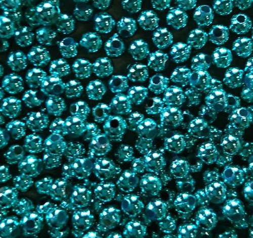10gms Acrylic Round 4mm beads Teal Green (approx 375 beads)