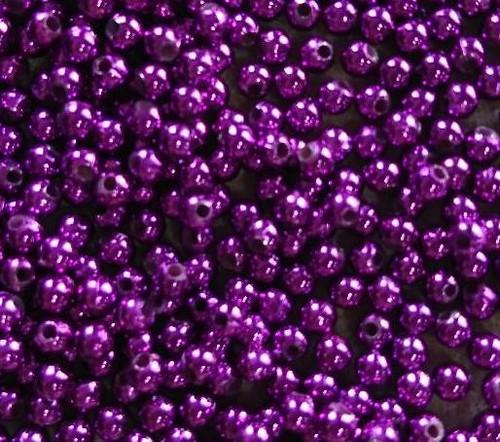 10gms Acrylic Round 4mm beads Deep Purple (approx 375 beads)