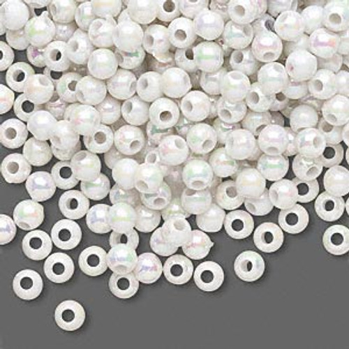10gms Acrylic Round 4mm beads White AB (approx 375 beads)