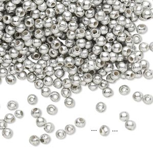 10gms Acrylic Round 4mm beads Matte Silver (approx 375 beads)
