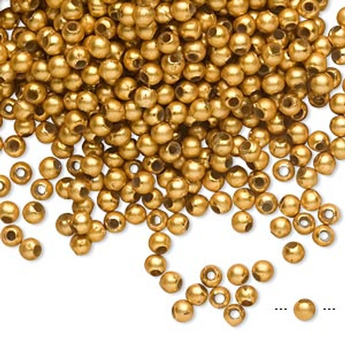 10gms Acrylic Round 3mm beads Gold Matte (approx 800 beads)