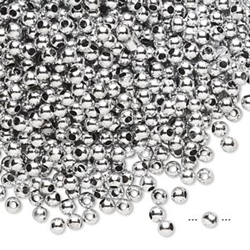 10gms Acrylic Round 3mm beads Silver Shiny (approx 800 beads)