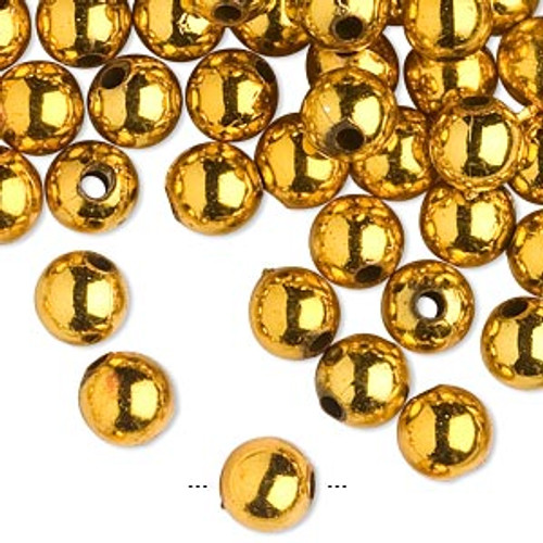 10gms Acrylic Round 8mm beads Shiny Gold (approx 40 beads)