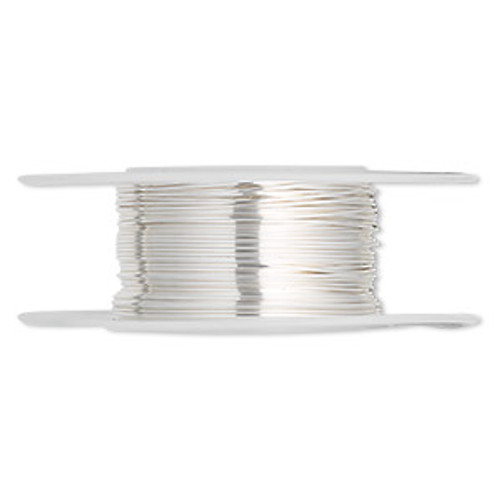 Wire, sterling silver, half-hard, round, 24 gauge. Sold per pkg of 5 feet.