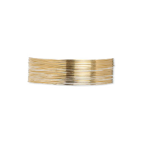 Wire, 12Kt gold-filled, half-hard, round, 24 gauge. Sold per pkg of 5 feet.