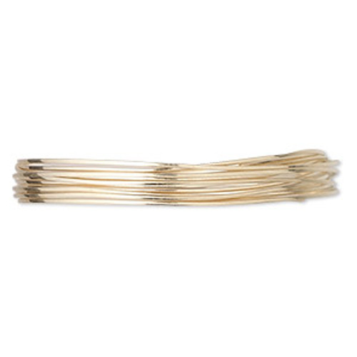 Wire, 12Kt gold-filled, half-hard, half-round, 24 gauge. Sold per pkg of 5 feet.