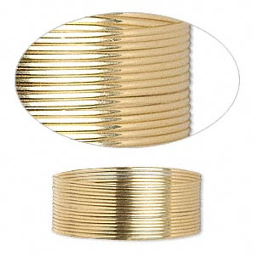 Wire, 12Kt gold-filled, dead-soft, round, 24 gauge. Sold per pkg of 5 feet.