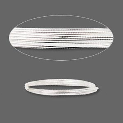 Wire, sterling silver, full-hard, round, 24 gauge. Sold per pkg of 5 feet.