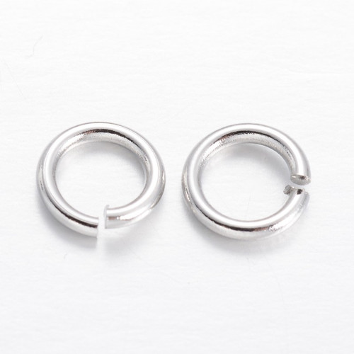 Brass Open Jump Rings, Silver, 6x1mm;  4mm I.D. (10gms - approx 100)