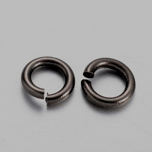 Brass Open Jump Rings, Gunmetal, 4x0.8mm;  2.4mm I.D. (10gms - approx 250)