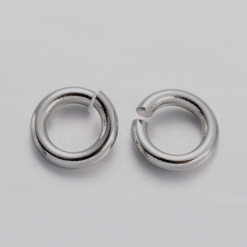 Brass Open Jump Rings, Platinum, 4x0.8mm;  2.4mm I.D. (10gms - approx 250)