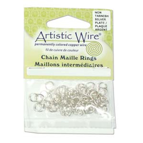 18 Gauge Artistic Wire, Chain Maille Rings, Round, Tarnish Resistant Silver, 5/32 in (3.97 mm), 60 pc