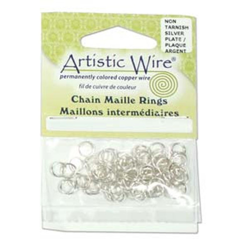 18 Gauge Artistic Wire, Chain Maille Rings, Round, Tarnish Resistant Silver, 1/8 in (3.18 mm), 80 pc