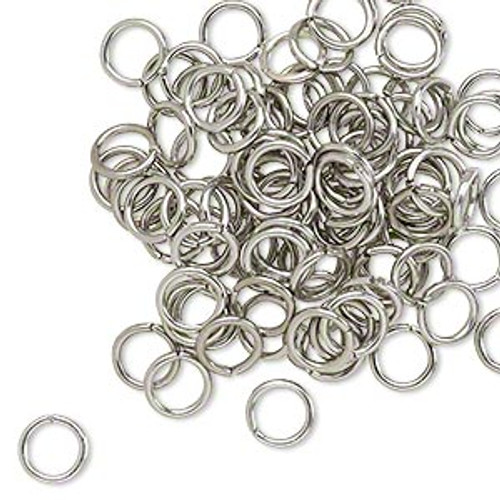 Jump ring Metallic Grey, anodized aluminum, mixed colors, 6mm round, 4.2mm inside diameter, 18 gauge. Sold per pkg of 100.