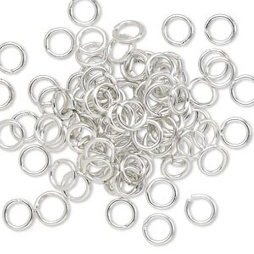 Jump ring Silver, anodized aluminum, mixed colors, 6mm round, 4.2mm inside diameter, 18 gauge. Sold per pkg of 100.