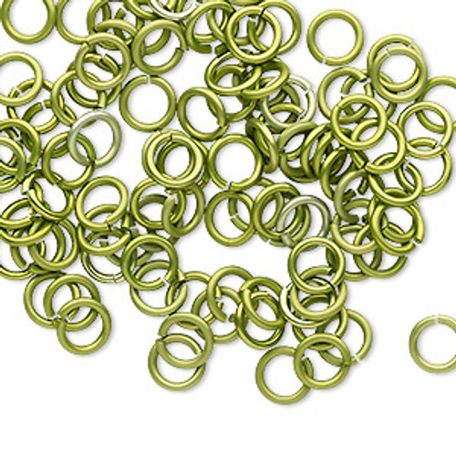 Jump ring, anodized tempered aluminum, Light Green, 6mm round, 4.2mm inside diameter, 18 gauge. Sold per pkg of 100.