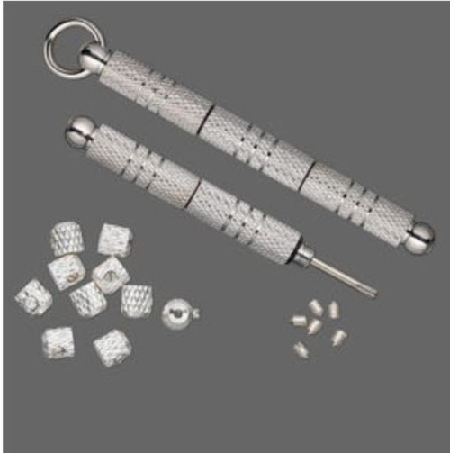 Screwdriver, Screw-Tite Crimps™, silver-plated brass, 59mm with 10 crimps and 6 screws. Sold per set.