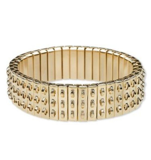 Bracelet component, stretch, gold-plated stainless steel, 16mm wide cha-cha, 6-1/2 inches. Sold individually.