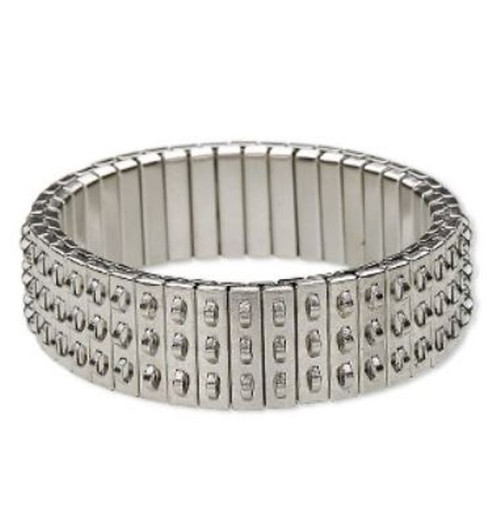 Bracelet component, stretch, Silver-plated stainless steel, 16mm wide cha-cha, 6-1/2 inches. Sold individually.
