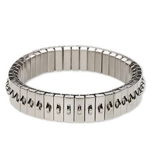 Bracelet component, stretch, Silver-plated stainless steel, 11mm wide cha-cha, 6-1/2 inches. Sold individually.