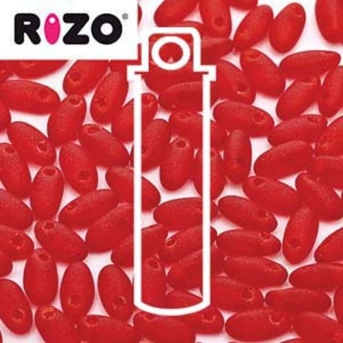 RZ256-90090-84110 Preciosa Czech Rizo Beads 2.5mm x 6mm - 22gms - Matte Red