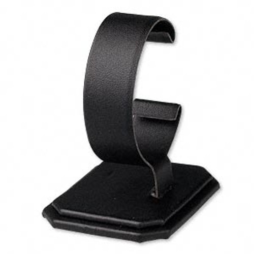 Display, watch and bracelet, leatherette, black, 2-7/8 x 2-5/8 x 2 inches. Sold individually.