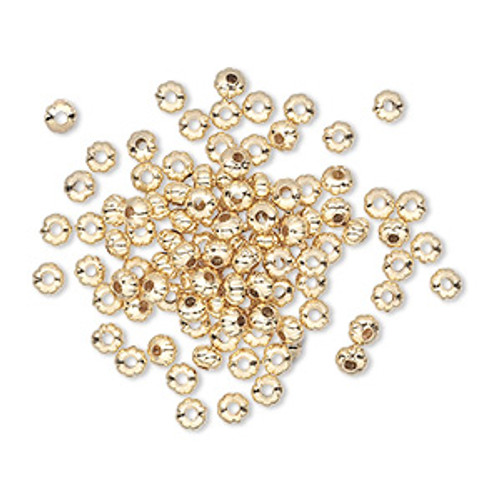 Bead, Gold-plated brass, 3x2mm corrugated rondelle. Sold per pkg of 100.