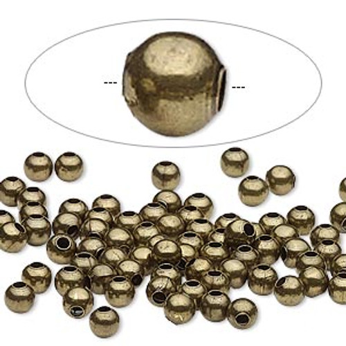 Bead, Ant Brass-plated steel, 4mm round. Sold per pkg of 100.
