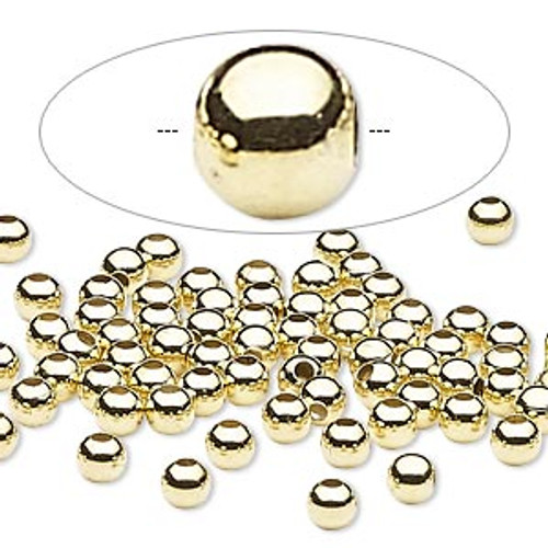 Bead, Gold Finished steel, 4mm round. Sold per pkg of 100.