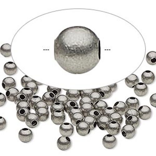Bead, Ant Silver plated steel, 4mm round. Sold per pkg of 100.