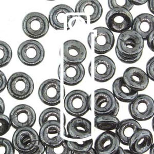 Czech O Beads 3.8mm x 1mm - 8.1gm Vial Hematite  (Approx 250 beads)