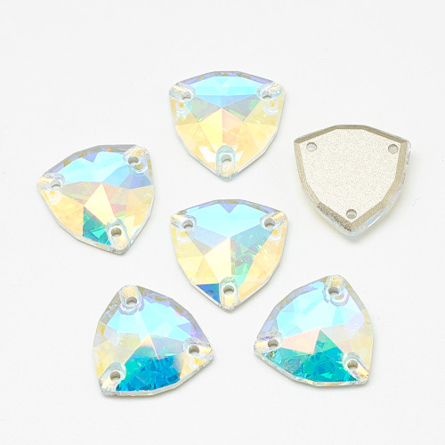 2 pack - Sew on Glass Rhinestone, Three Holes, Faceted, Flat Triangle, Crystal AB, 17x17x4.5mm