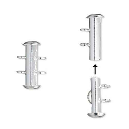 2-Strand (4 pack) Slide Tube Clasp (16mm x 6mm) Silver