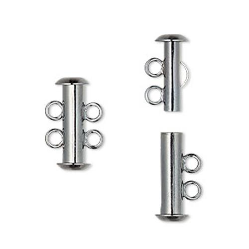 Clasp, 2-strand slide lock, gunmetal-plated brass, 16x6mm tube. Sold per pkg of 4.