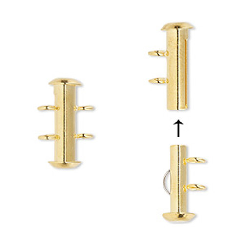 Clasp, 2-strand slide lock, gold-plated brass, 16x6mm round tube. Sold per pkg of 4.
