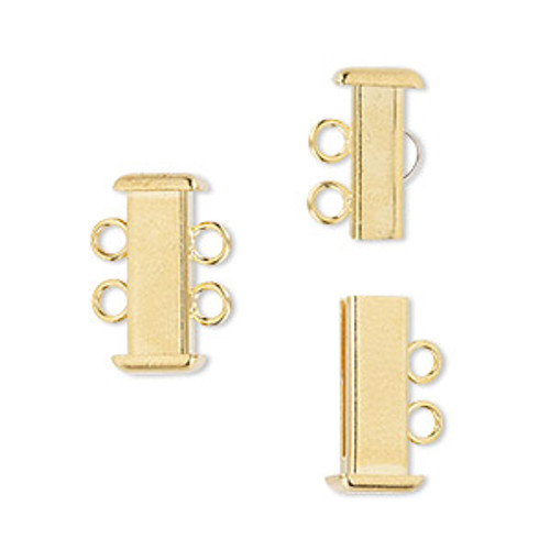 Clasp, 2-strand slide lock, gold-plated brass, 16x7mm rectangle tube. Sold per pkg of 4.