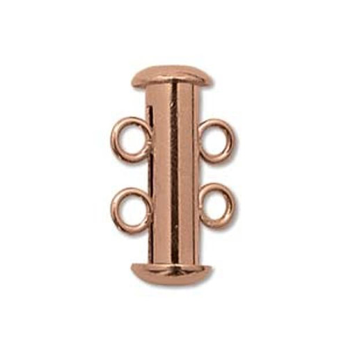 Clasp, 2-strand slide lock, Copper-plated brass, 16x6mm tube. Sold per pkg of 4.